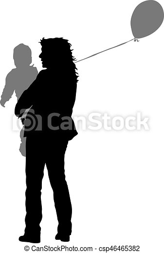 Silhouette of happy family on a white background. Vector illustration. - csp46465382