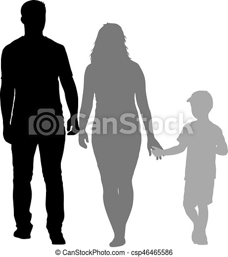 Silhouette of happy family on a white background. Vector illustration. - csp46465586