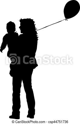 Silhouette of happy family on a white background. Vector illustration. - csp44751736