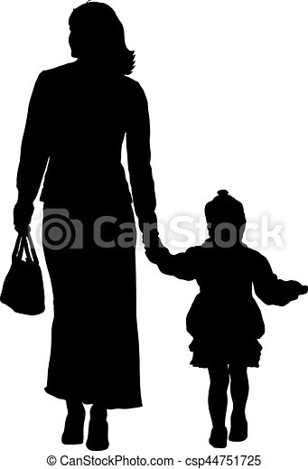 Silhouette of happy family on a white background. Vector illustration. - csp44751725