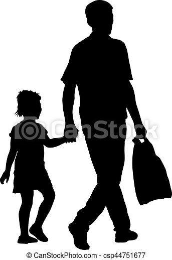 Silhouette of happy family on a white background. Vector illustration. - csp44751677