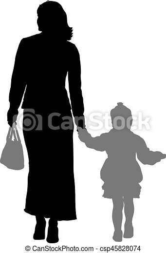 Silhouette of happy family on a white background. Vector illustration. - csp45828074