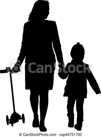Silhouette of happy family on a white background. Vector illustration. - csp44751700