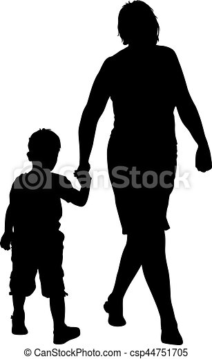 Silhouette of happy family on a white background. Vector illustration. - csp44751705