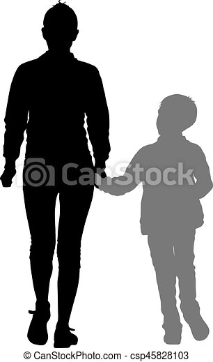 Silhouette of happy family on a white background. Vector illustration. - csp45828103