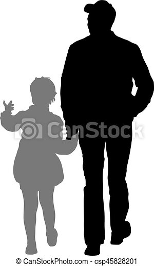 Silhouette of happy family on a white background. Vector illustration. - csp45828201