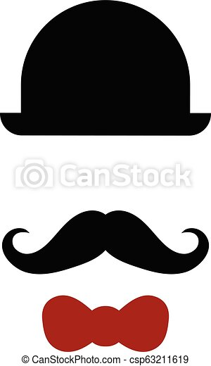 Silhouette of hat, mustache and bow tie - csp63211619