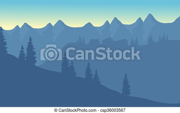 Silhouette of house on the mountain - csp36003567