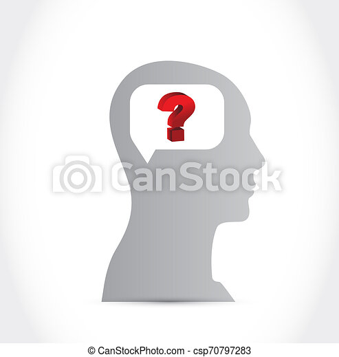 Silhouette of Human Head with Question mark - csp70797283