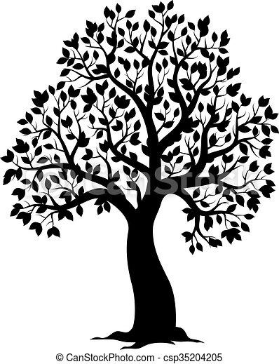 Silhouette of leafy tree theme  - csp35204205