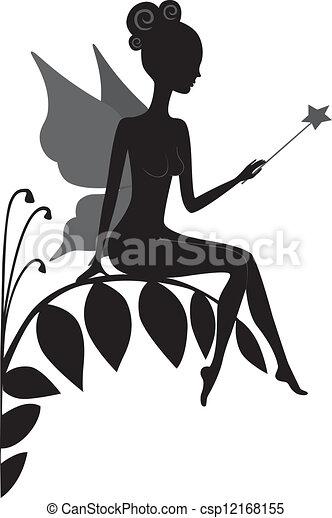 Silhouette of magic fairy - csp12168155