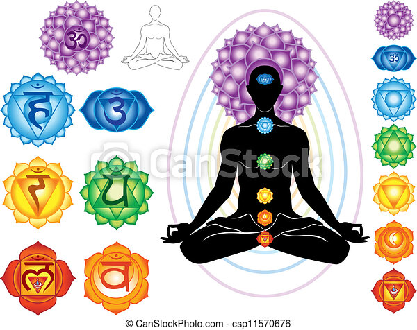Silhouette of man with symbols of chakra - csp11570676