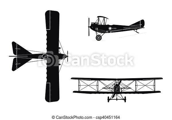 Silhouette Of Military Retro Airplane On A White Background