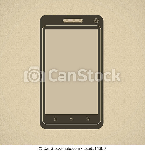 Silhouette of modern smartphone in retro style - csp9514380