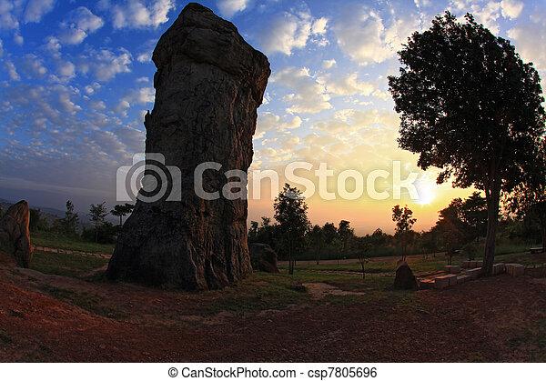 silhouette of Mor Hin Khao, Thailand stonehenge, with sunrise - csp7805696