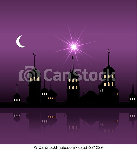 Silhouette of Mosque Against Night Sky with Crescent Moon - csp37921229