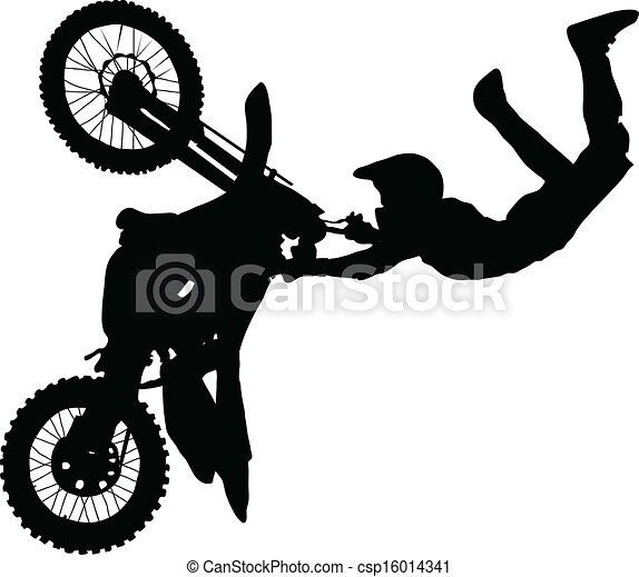 Silhouette of motorcycle rider performing trick - csp16014341