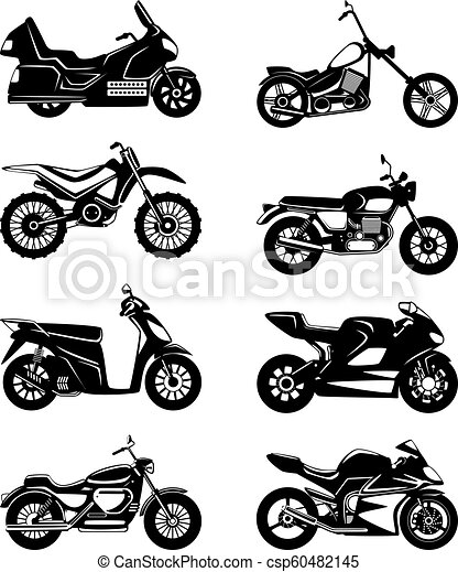 Silhouette Of Motorcycles Vector Monochrome Illustrations Set