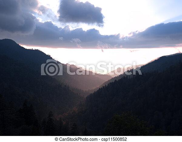 silhouette of mountain range - csp11500852