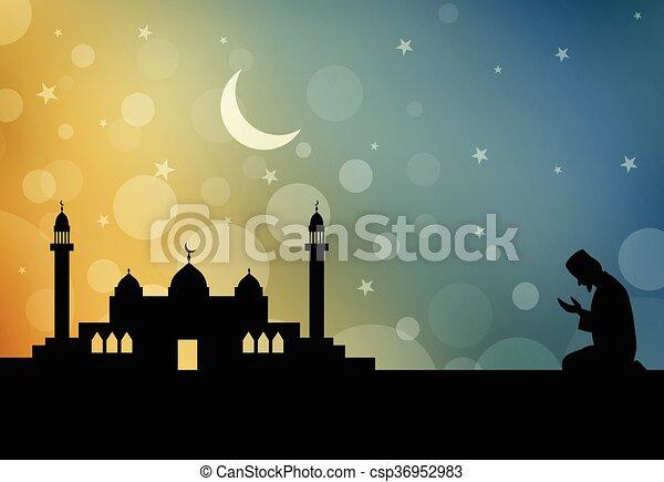 Silhouette of Muslim man praying - csp36952983