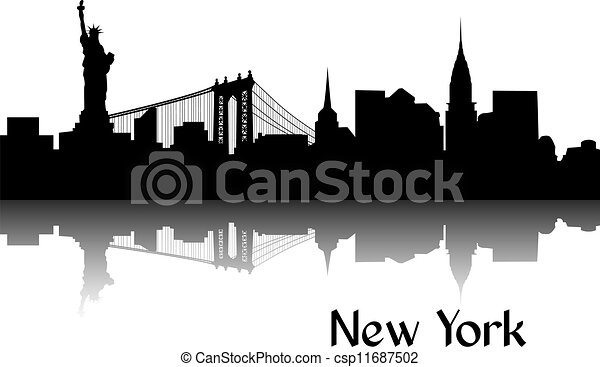 Silhouette of New York - csp11687502