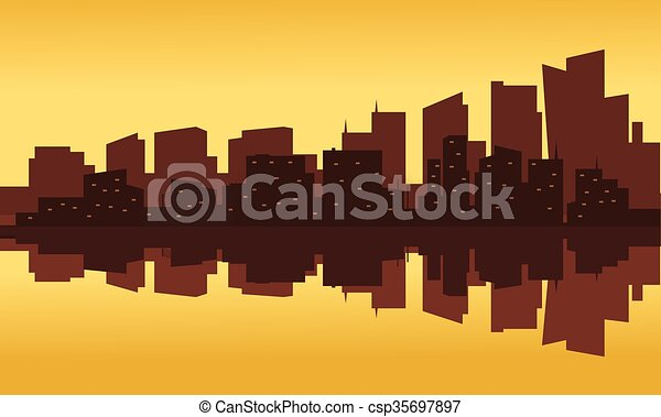 Silhouette of office building at the sunset - csp35697897
