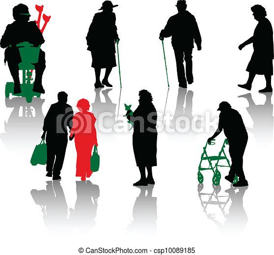 Silhouette of old and disabled  - csp10089185