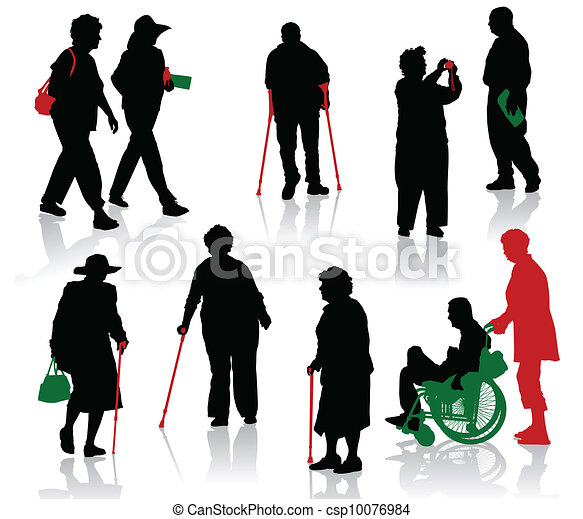 Silhouette of old and disabled peop - csp10076984
