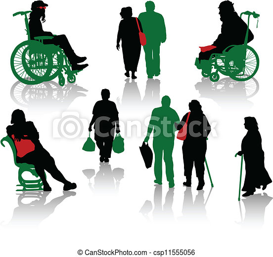 Silhouette of old people and disabl - csp11555056