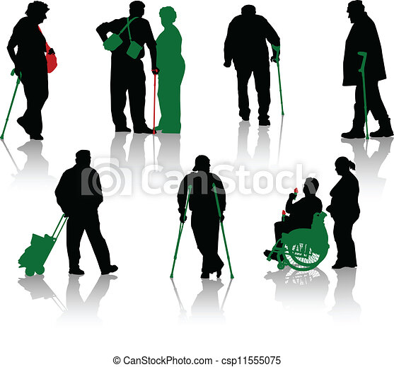 Silhouette of old people and disabl - csp11555075