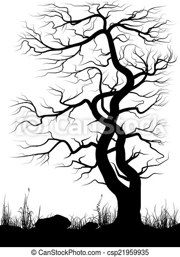 Silhouette Of Old Tree And Grass Over White Background Black And