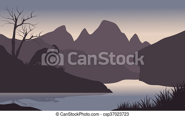 Silhouette of parasaurolophus in riverbank - csp37023723