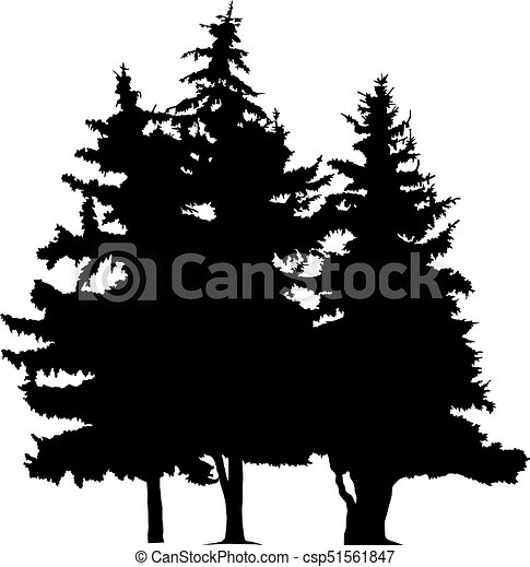 silhouette of pine tree silhouette of three pine trees hand made rh canstockphoto com vector pine trees free vector pine tree shape