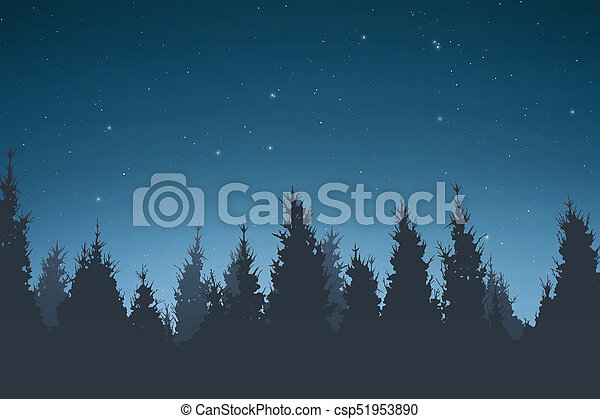 Silhouette of pine trees at night - csp51953890