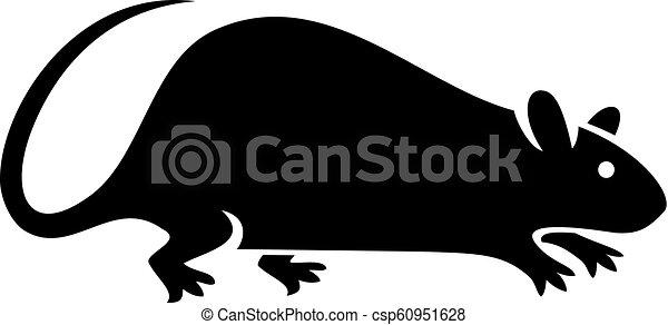 silhouette of rat vector illustration - csp60951628