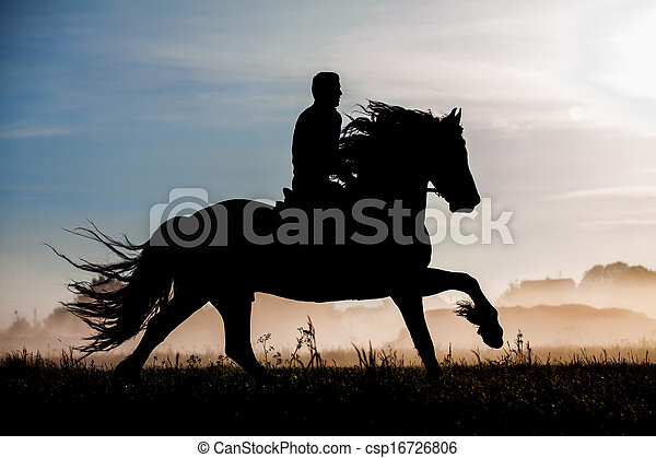 Silhouette of rider and horse - csp16726806