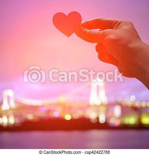 silhouette of romantic lovers - csp42422788