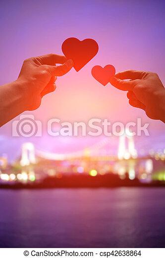 silhouette of romantic lovers - csp42638864