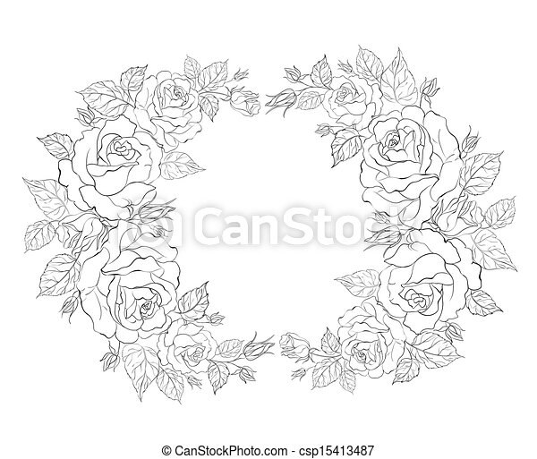 Silhouette of rose with sample text. - csp15413487