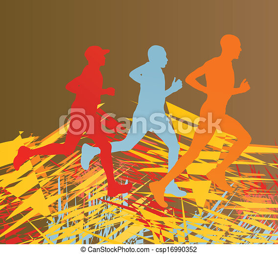 Silhouette of runner vector in front of colorful abstract lines - csp16990352