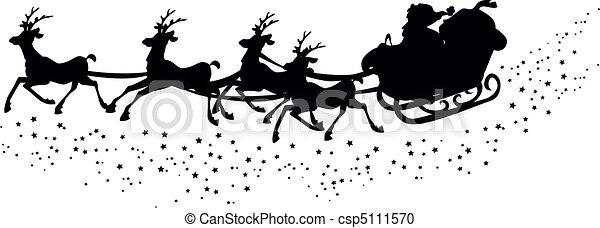 Silhouette of santa?s sleigh - csp5111570