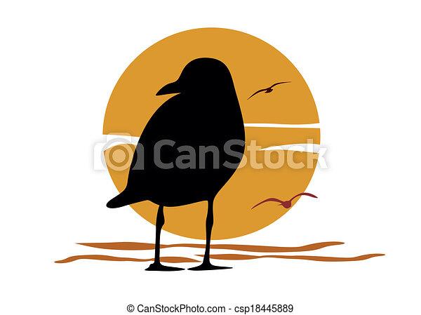 Silhouette of seagull on sea sunset - csp18445889