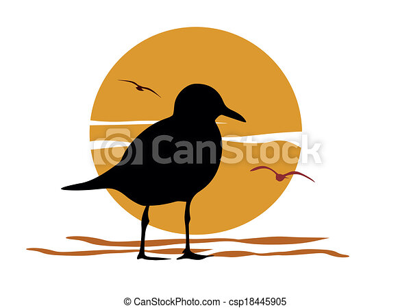 Silhouette of seagull on sea sunset - csp18445905
