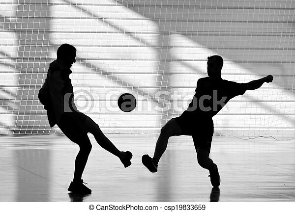 silhouette of soccer players - csp19833659