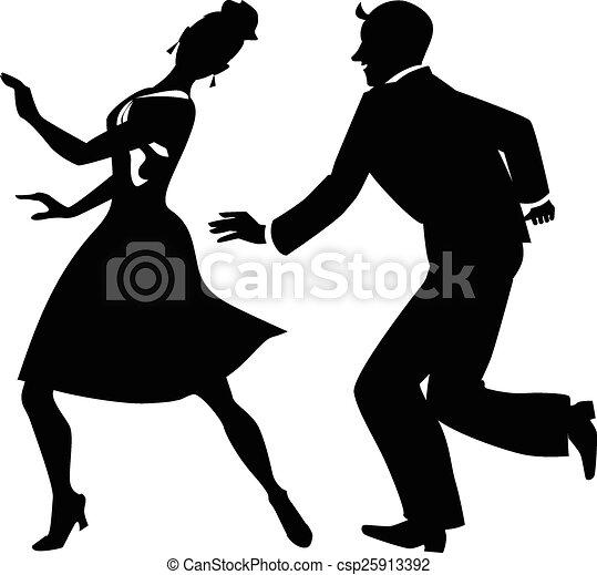 Silhouette of tap dancers - csp25913392