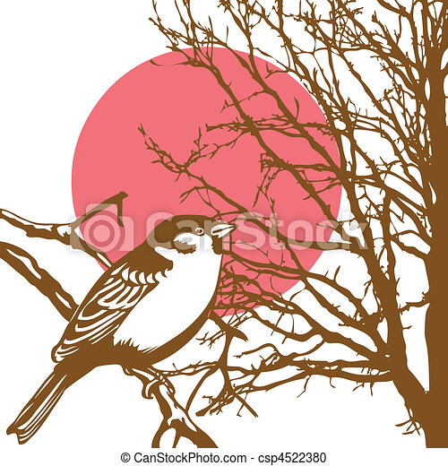 silhouette of the bird on branch - csp4522380