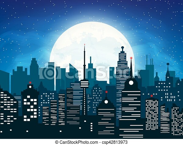 Silhouette of the city and night sky - csp42813973