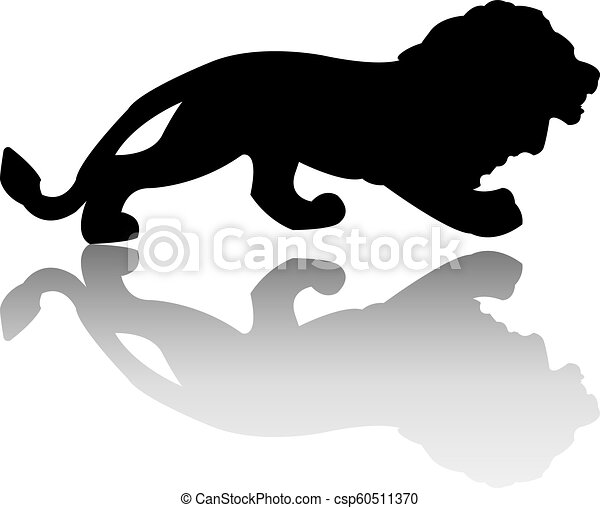 Silhouette of the lion is isolated on a white background. Vector - csp60511370