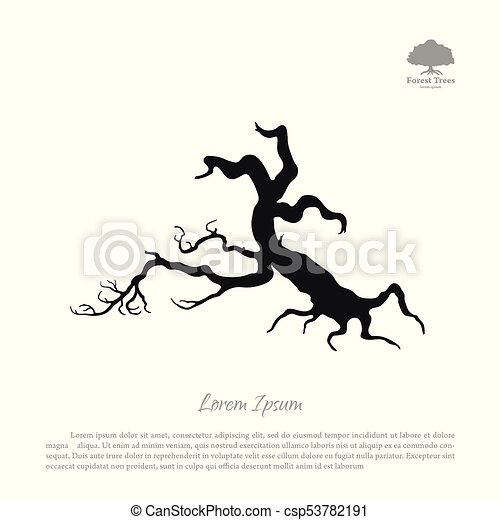 Silhouette of the old broken tree - csp53782191