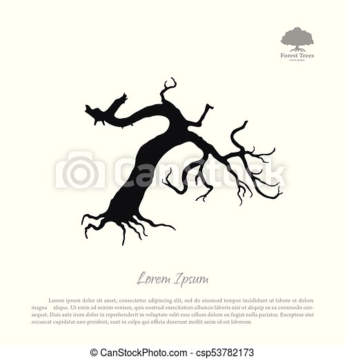 Silhouette of the old broken tree - csp53782173